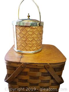 Nice Wooden Basket With Wine Cooler Bucket