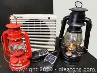 (2) Oil Lanterns, Walkie Talkie Set Botech Fan/Heater