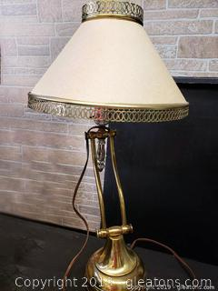 Antique Desk Lamp With Very Unique Shade