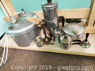 Vtg. Stainless Kitchen Aluminum Lot