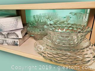 Beautiful Shelf Lot Of American Whitehall Glass