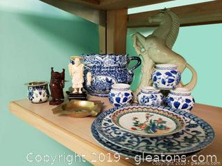 Vtg Blue And White Oriental Lot