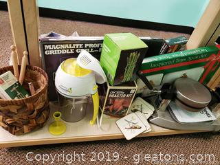 Shelf Lot Of Industrial Warins Waffle Iron And Kitchen Items
