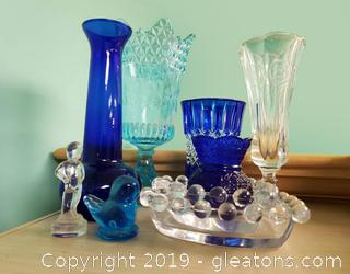 Lot Of Blue Vtg. Glass