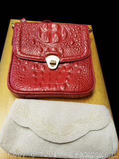 Brahmin Designer Handbag And Beaded Purse
