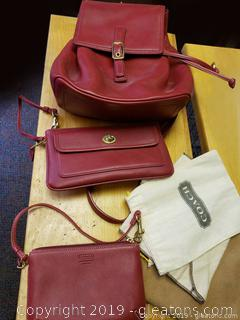Red Leather Coach Backpack Purse WIth Wallet And Change Purse