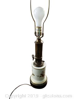 Vtg Brass/Glass Table Lamp