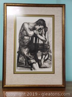 Nicely Framed Black And White Etching Signed And Numbered