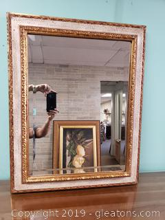 Very Ornate Bevelted Wood Mirror