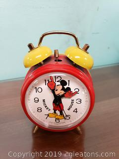 Vtg. Mickey Mouse Alarm Clock By. Bradley
