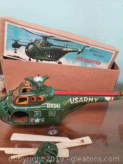 Vtg. Tin US Army Battery Helicopter