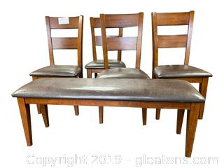 Set Of (4) Dining Chairs With Matching Bench