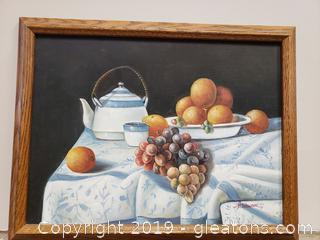 Hand Painted Framed Canvas Fruit Art