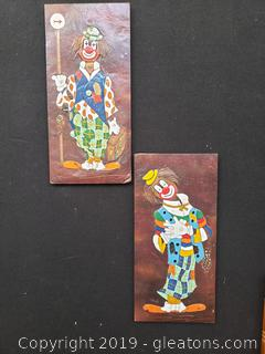 PR Of Clown Handmade Metal Covered Board Art Work