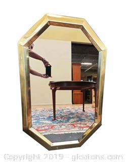 Octagon Shaped Solid Brass Frame Wall Mirror