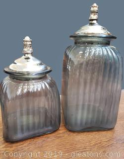 Set Of (2) Glass Canister