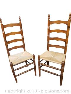 Ladder Back Farmhouse Rush Seat Chairs PAIR