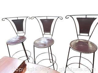 Leather Bar Stools Set of Three