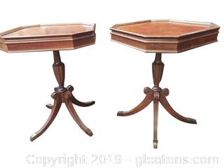 Leather Top Drum Tables PAIR