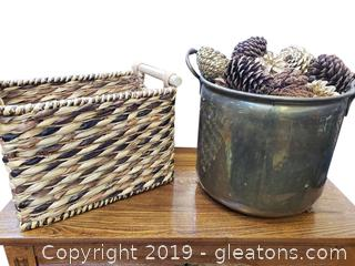Brass Planter Bucket And Basket