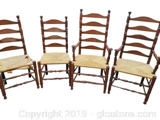 Ladder Back Rush Seat Chairs Set of Four