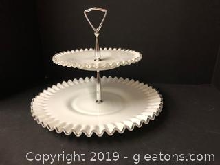 Amazing Antique Fenton 2 Level Server Platter