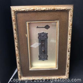 Beautiful Hand Carved Wall Art Of Skeleton Key In Gold Wood Accent Frame