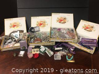 Huge Lot Of Beads In Cigar Boxes
