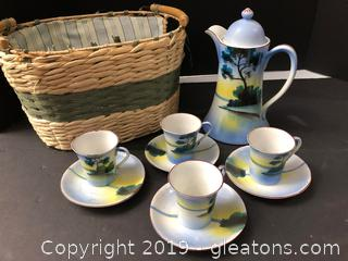 Japanese Tea Set With Strong Basket