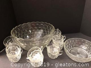 Pretty Vintage Cut Glass Punchbowl Set