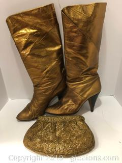 Gold Women's Boots And Formal Bag