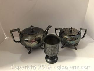 English Wilcox Silver Plate 3 Piece Set