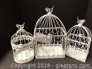 Set Of 3 White Bird Cages For Decor Perfect For Shower Or Wedding