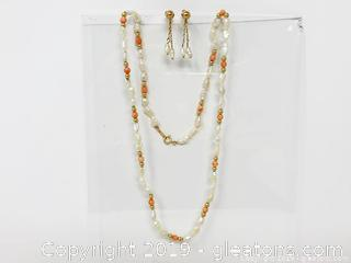 Pearl, Coral And Gold Set