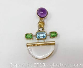 Gemstone And 14k Pendant