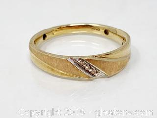 Diamond And Gold Mens Wedding Band