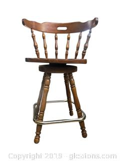 Swivel Barstool Chair With Brass Foot Rest And Spindle Legs
