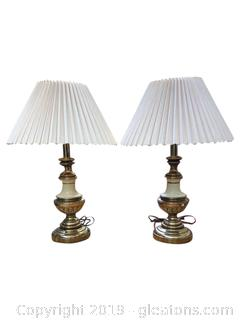 Vintage Brass And Glass Pair Of Lamps Pleated Lamp Shades With Finial
