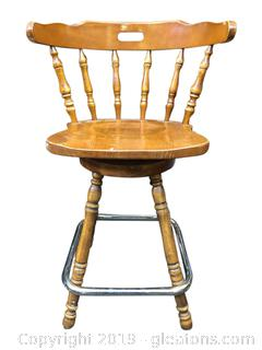 Solid Wood Bar Chair With Brass Foot Rest And Spindle And Back Legs