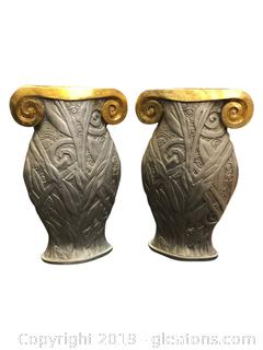 Pair Of Tall Decorative Urns Silver And Gold