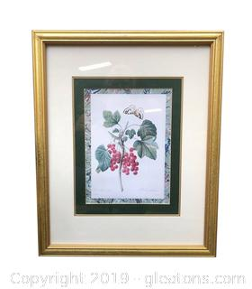 "Gold Framed And Matted Wall Art Of ""Butterfly Cherries"""