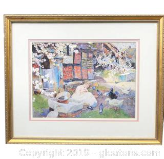 Nice Wall Hanging Art Of The Print Of Girl Feeding Geese