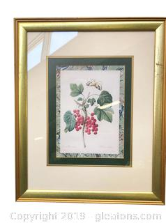"Gold Framed And Matted Wall Art Of ""Butterfly Cherries"
