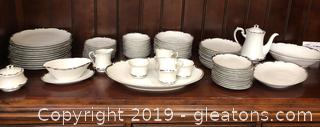 Vintage Silver And Glossed White China Set