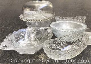 Pretty Fruit Design Etched Glassware And Cake Plate