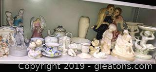 A Lot Of Mixed Lot Of Figurines Glass And Ceramic