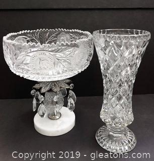 Round Vintage Crystal Vase And Bowl