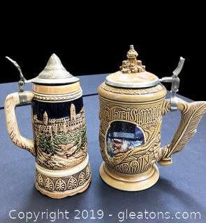 Good Pair Of German Gobblet Beer Steins