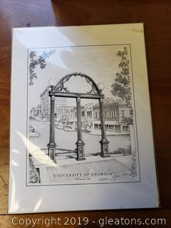 Black And White Sketch Signed Of UGA Athens, GA. Campus