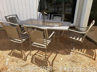 Outdoor Metal/Glass Top Table With 6 Armed Chairs And Umbrella
